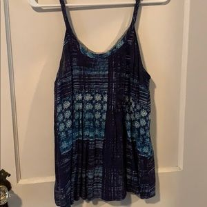 Blue and white patterned tank top